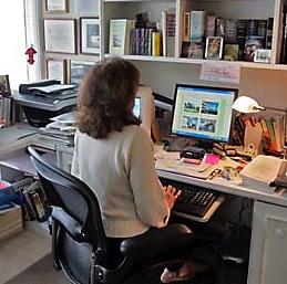 Ciji at work in Portofino Office 4-07